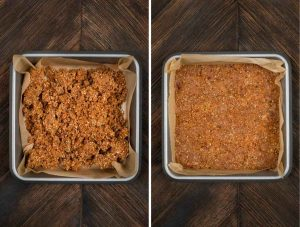 2 images showing peanut butter mixture in an 8x8 pan.