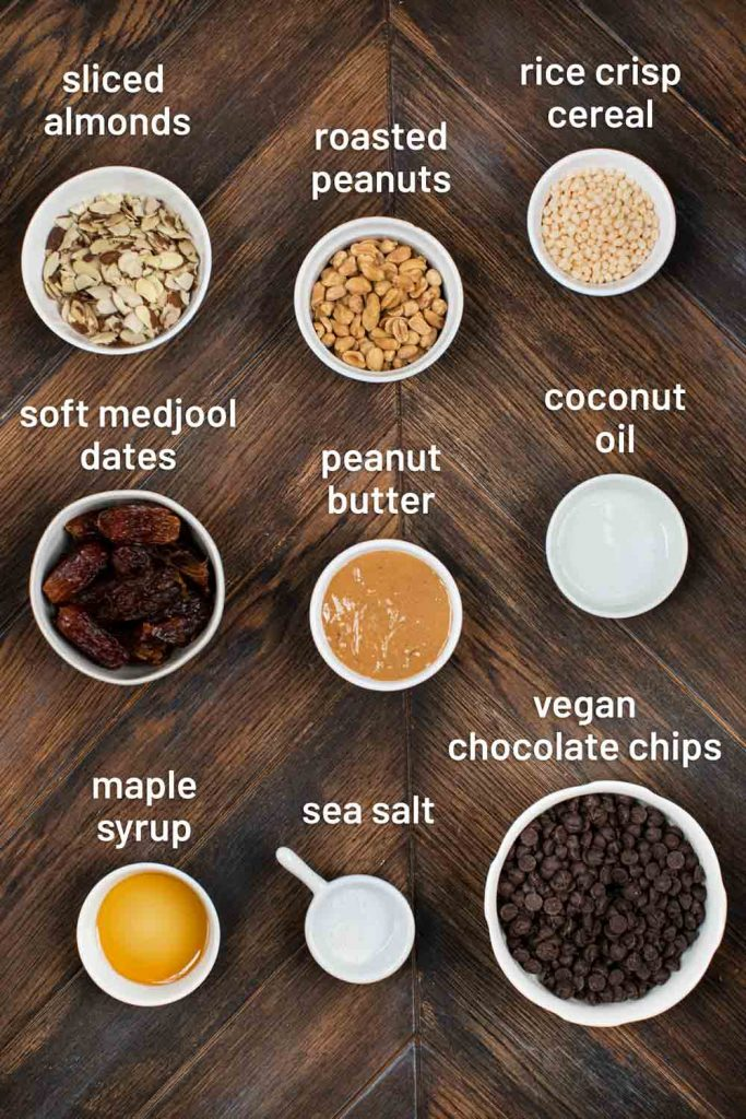 An overhead image of the ingredients for no bake vegan peanut butter chocolate bars.