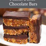 A plate of no bake vegan peanut butter chocolate bars