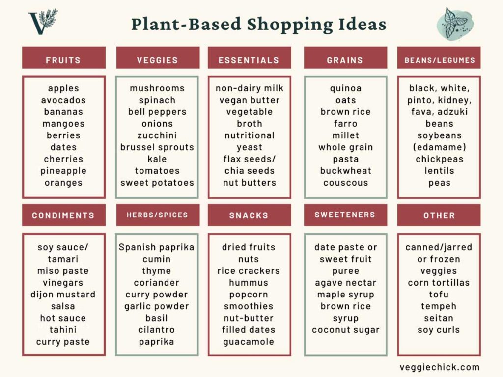 A graphic showing different plant-based shopping ideas, such as fruits, veggies, grains, and more.
