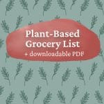 """A colorful leaf background and text that says """"Plant Based Grocery List"""" + downloadable PDF"""