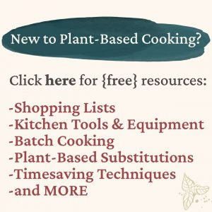 """Text showing """"New to Plant based Cooking"""" with a place to click to navigate to the resources section"""