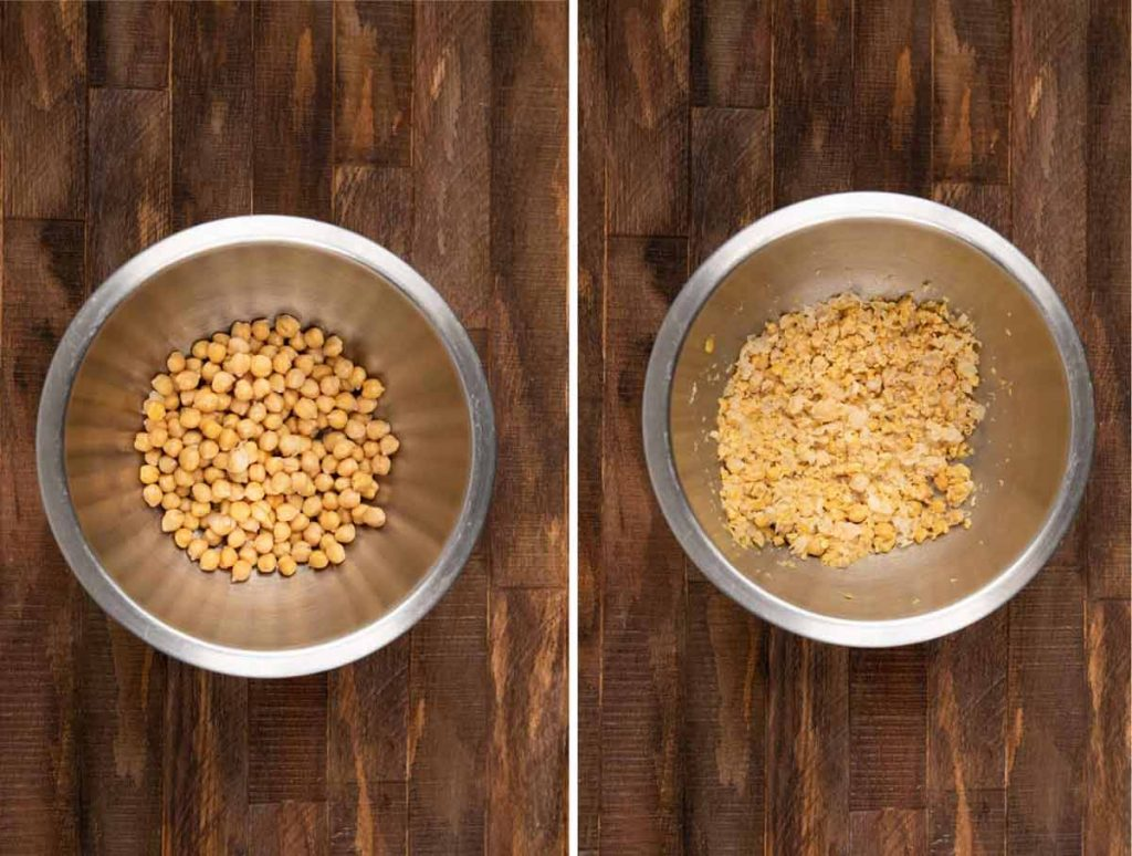 2 images showing chickpeas being mashed in a bowl.
