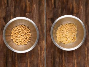 2 images showing chickpeas being mashed in a stainless steel bowl