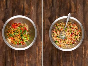 2 images showing veggies added to a chickpea mixture to make curry chickpea salad