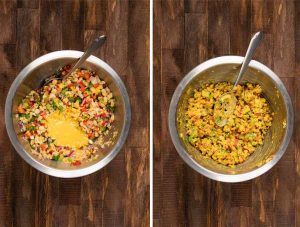2 images showing sauce being added to a bowl of veggies and mashed chickpeas.