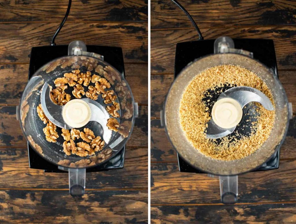 Two images of before and after adding raw walnuts to a food processor and blending