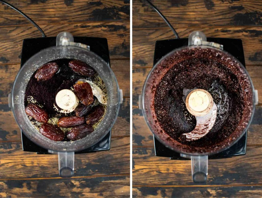 Two images showing acai bars ingredients added to a food processor and blend it