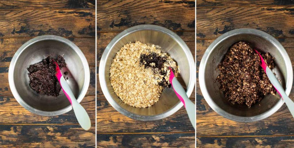 Three images showing acai mixture blended with oats and combined with chocolate chips