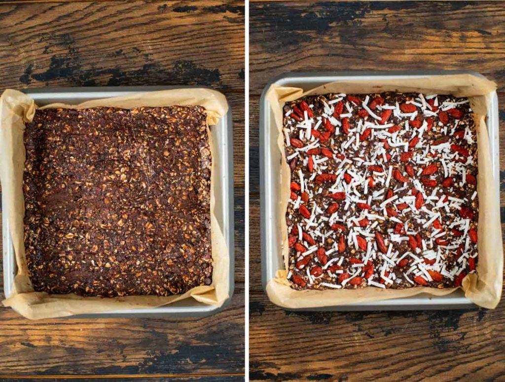 2 images showing acai mixture top with Goji berries and coconut flakes